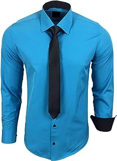 Rusty Neal R-44-KR Camicia da uomo a contrasto, con cravatta, per matrimonio, tempo libero