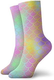 Unisex Fun Dress Calcetines - Calcetines coloridos Funky - Cola de sirena mágica colorida escamas de pescado (3) Calcetines