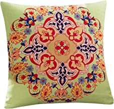 45cm Classic Flower Printed Bamboo Linen Cushion Cover Home Textiles Supplies Lumbar Pillow Decorative (Green Circle)