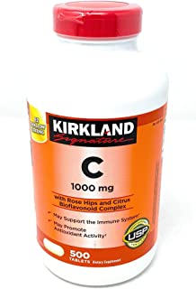 Kirkland Signature Vitamin C W/Rose Hips 500 Tablets
