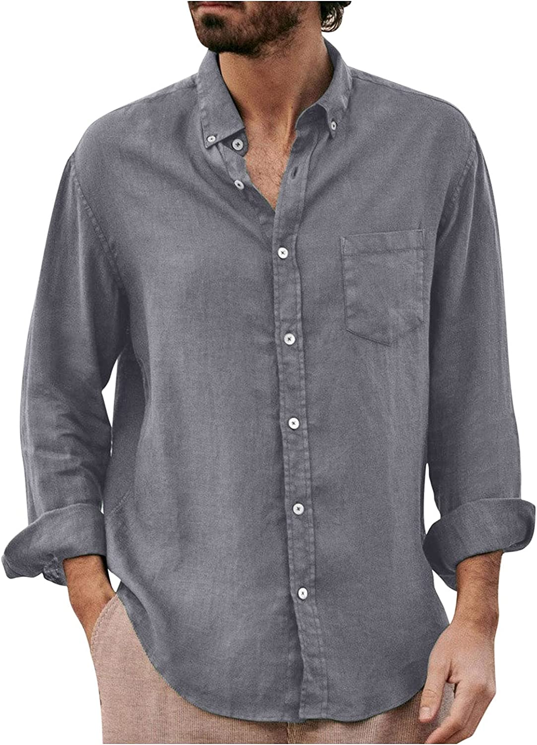 XUNFUN Men's Casual Button Down Shirts Loose Fit Summer Vintage Shirt Solid Color Long Sleeve Cotton Linen Tops Blouse