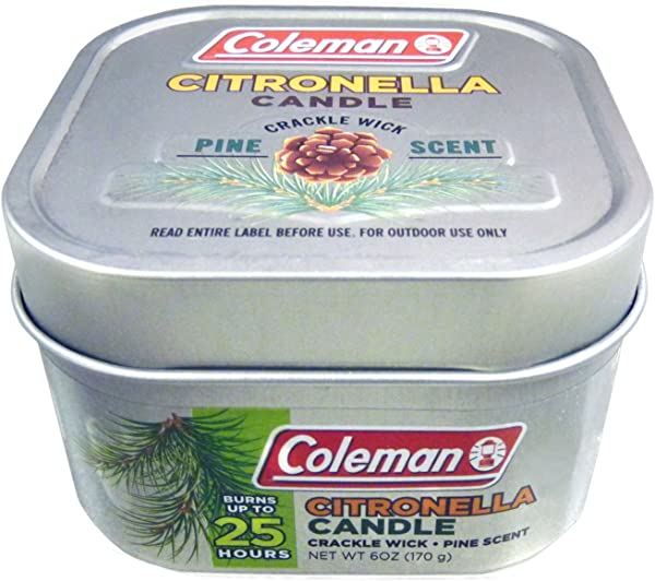 Coleman Scented Citronella Candle With Wooden Crackle Wick 6 Oz Tin