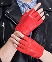CHULRITA Women's Leather Driving Gloves Sheepskin Fingerless Motorsports Retro Half Finger Motorcycle Cycling Gloves