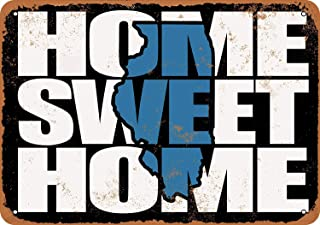 Home Sweet Home Illinois Black Blue Vintage Look Metal Signs for Garage Man Cave Wall Art Decor for Home Bar Garage Store Yard Office 8 x 12