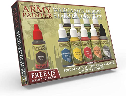 The Army Painter | Warpaints Starter Paint Set | 10 Peintures Acryliques et 1 Pinceau Starter Brush pour Débutants en...