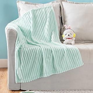 MIULEE Fleece Baby Blanket with Stripe Pattern for Boys, Girls, Kids, Infant, Newborn Fuzzy Flannel Throw Blanket Plush Wa...