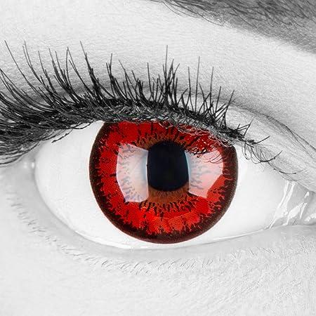 Lentilles couleur rouge noir - vampire red flower. Pour Halloween, Fantaisie, Carnaval + étuis à lentilles de contact I 1 paire (2 pièces) I sans correction I 0,00 Dioptries MERALENS