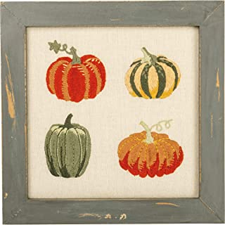 Primitives by Kathy Framed Glass Stitchery - Pumpkins