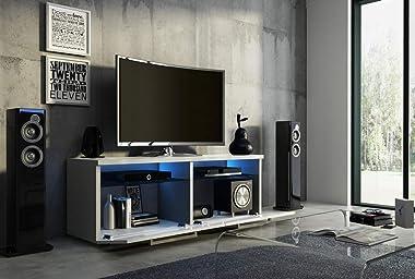 PEGANE Meuble TV Design Coloris Noir Mat/Noir Brillant + LED Bleu - L.100 x P.46 x H.35 cm
