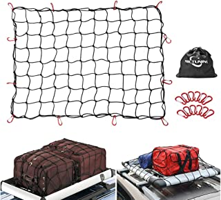 MICTUNING 3 Feet x4 Feet to 6 Feet x8 Feet Heavy Duty Bungee Cargo Net, Latex Truck Bed Mesh - 12pcs Free Carabiners Storage Bag for Loads Tighter Cargo Hitch