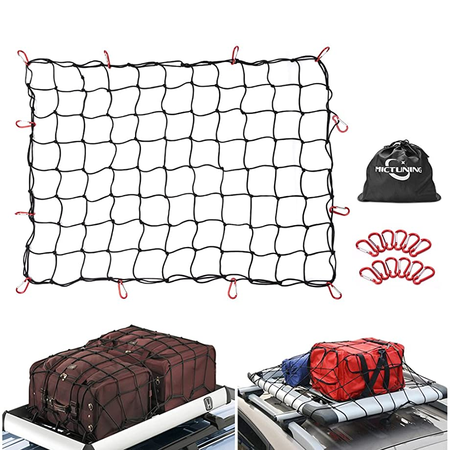 MICTUNING 3'x4' to 6'x8' Heavy Duty Bungee Cargo Net, Latex Truck Bed Mesh - 12pcs Free Carabiners & Storage Bag for Loads Tighter Cargo Hitch