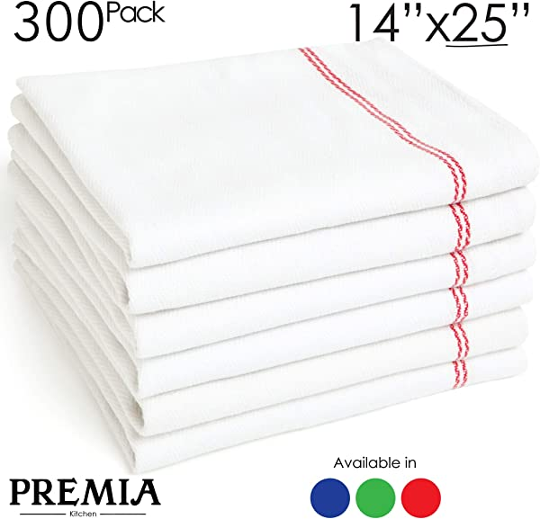 Bulk Economy Wholesale Kitchen Dish Towels 300 Towels 100 Cotton Herringbone Commercial Grade Bleach Resistant Restaurant Bar Mops 24 Oz Dz White With Red Stripes