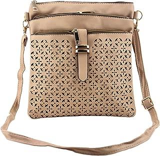 Bausweety Women's Crossbody Hollow Bag Vintage PU Leather Shoulder Bag