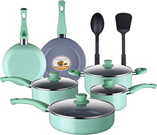 AMERICOOK 12 Piece Kitchen Pots and Pans Set, Tiffany Blue Non-stick Cookware Set, Grey Ceramic Nonstick Coating and Aluminium Cooking and Frying Cookware with Vented Glass Lids and 2 Kitchen Utensils