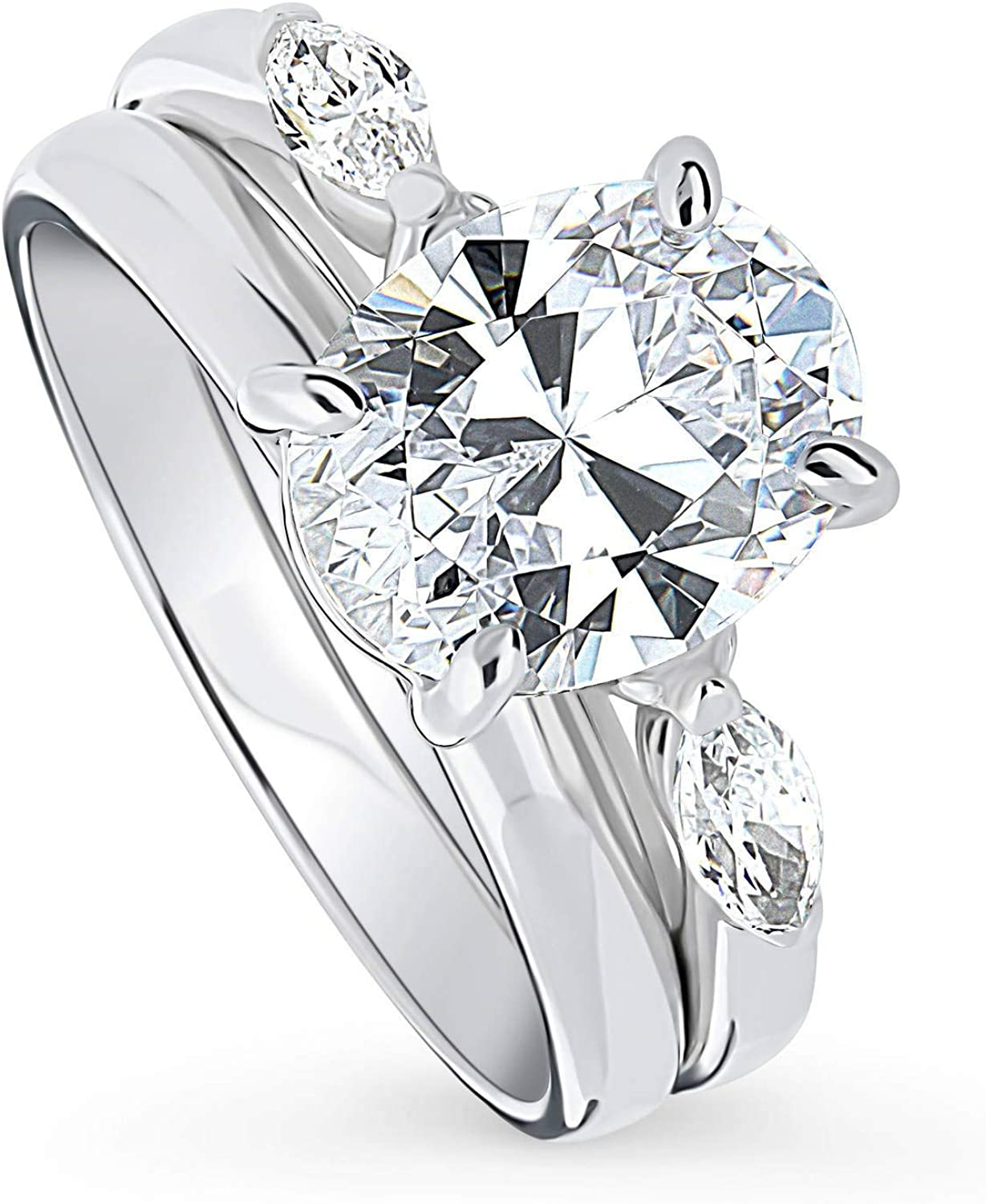 BERRICLE Rhodium Plated Houston Mall Max 88% OFF Sterling Silver Cubic Cut Oval Zirconia