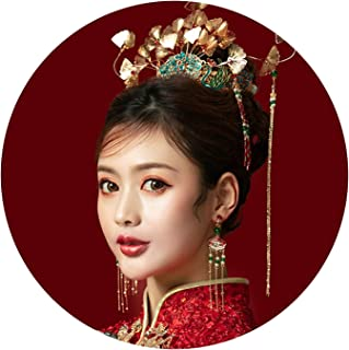 Chinese Bridal Golden Costume Headdress Vintage Hair crown Ornament for Women Wedding Jewelry Hair Accessories