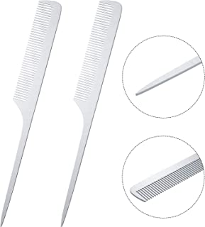 2 Pieces Metal Tail Combs Silver Rat Tail Hair Combs Teasing Pintail Barber Comb Stainless Steel Hair Styling Cutting Combs