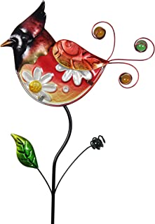 "Exhart Exquisite Red Bird Garden Stake – Filigree Red Bird Metal Stake w/Glass & Metal Hand Painted Metallic Coat – Glass Bird Garden Stake - Outdoor Décor for Garden, Yard & Patio, 8 x 35"""