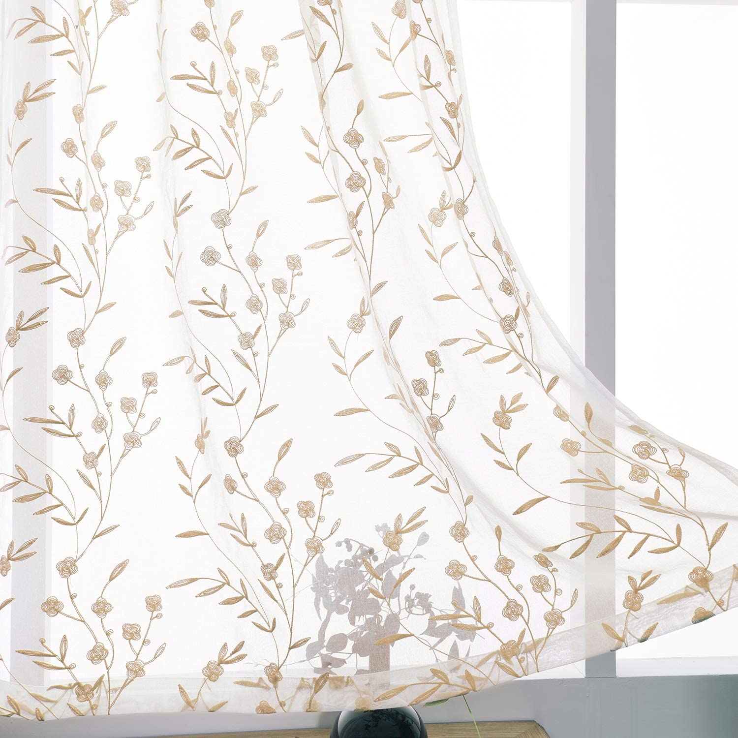 Beige Sheer Charlotte Free shipping anywhere in the nation Mall Curtains Embroidery 63 Rod Inch Voile Pocket Length