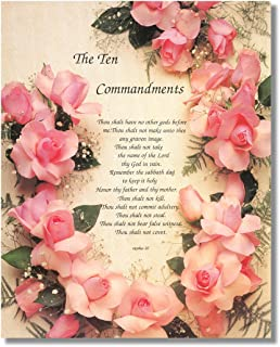 Ten Commandments Roses Religious Wall Picture 8x10 Art Print