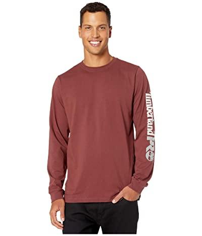 Timberland PRO Base Plate Blended Long Sleeve T-Shirt with Logo (Maroon) Men