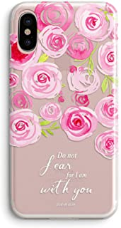 iPhone Xs/X Case,Floral Flowers Bible Verses Inspirational Quotes Isaiah 41:10 Do Not Fear Cute Girls Women Pink Roses Blo...