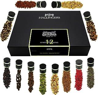 Hallingers 12er Premium Gin Botanicals als Geschenk-Set 142g - Botanical Gin Pimper XL Design-Karton - zu Muttertag & Vatertag Für Ihn Weihnachten