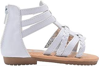 Baby Toddler Kids Girls Sandals Studed Flower Gladiator Strap Hook Loop Shoes
