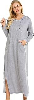Sleepwear Long Sleeve Hooded Sweatshirt Robe Women Casaul Full Length Nightgowns with Pocket