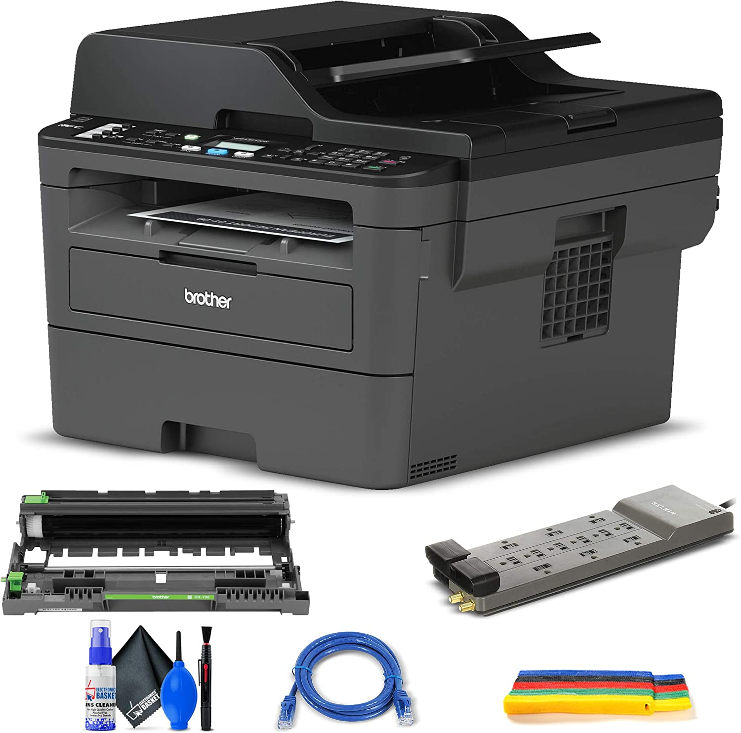 Brother MFC-L2710DW All-in-One Monochrome Laser Printer (MFC-L2710DW) + Surge Protector + Network Cable + Deluxe Cleaning Kit + Tie Straps