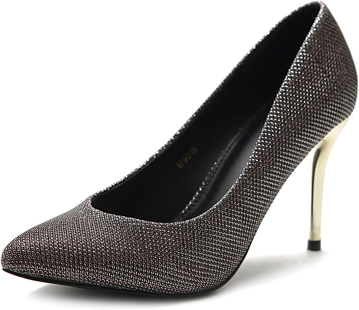 Ollio Women's Shoe Metalic High Glitter Inventory cleanup selling sale Heel Pump Selling D'Orsay