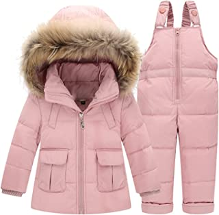 Luodemiss Girl's Baby Two Pieces Thicken Down Snowsuit Hooded Jacket Lightweight Skating Bibs