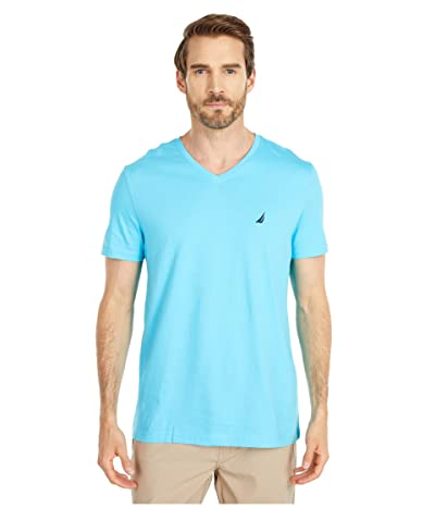 Nautica Short Sleeve V-Neck Tee (Blue) Men