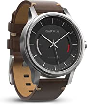 Garmin 010-01597-20 Vivomove Premium - Ww, Stainless Steel with Leather Band