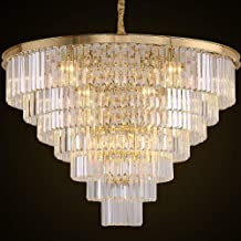 MEELIGHTING Gold Plated Crystal Chandelier Lighting Modern Contemporary Empress Chandeliers Pendant Ceiling Lamp Light Fixture 7-Tier for Duplex House Dining Room Living Room Hotel (24 Lights) W39.4
