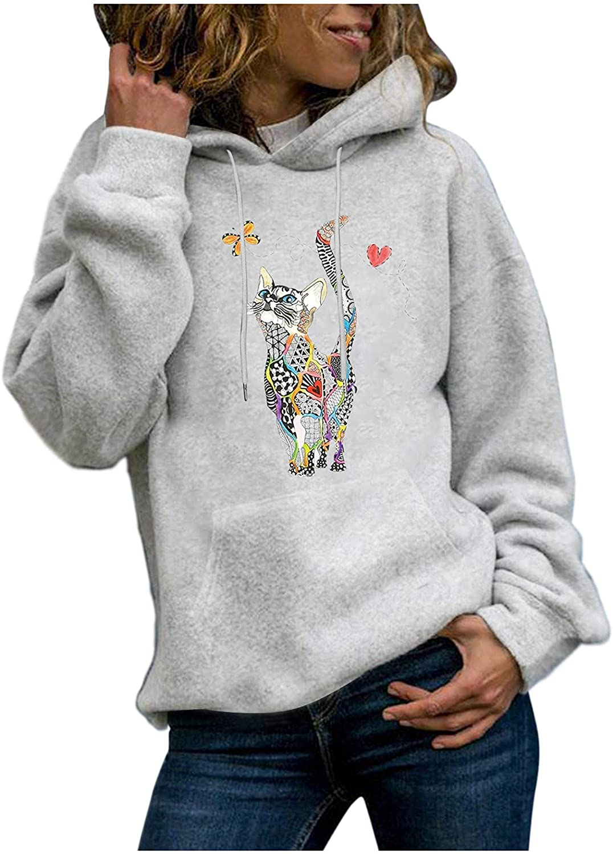 UOCUFY Hoodies for Women, Women Girls Casual Cute Printed Hoodie and Sweatshirts Loose Long Sleeve Pullover Tops