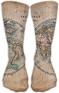 Medias divertidas personalizadas Clásicos Mapa del mundo manchado Niñas Calcetines largos hasta la rodilla de viaje Transpirable