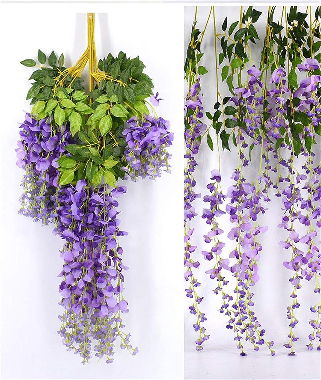 哺乳類お願いします戻すTrayosin 造花 藤の花 人工壁掛け シルク造花 家庭やパーティーの装飾 ワインパーティー ウェディングデコレーション用 観葉植物 12個セット 110cm (パープル)