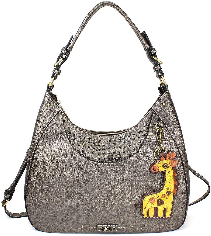 Chala Sweet Tote Hobo Crossbody Purse Giraffe   Pewter