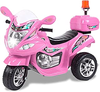 TAMCO Police Motorcycle Ride On Toy with Flash Alarm Light, Electric Power Tricycle with Foot Pedal, 7 Colors Flashlight Front Light, Music & Honk, Super Easy Driving for Kids Max Load 45LB (Pink)