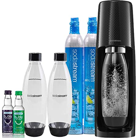 SodaStream Fizzi Sparkling Water Maker Bundle (Black), with CO2, BPA Free Bottles, and Bubly Drops Flavors