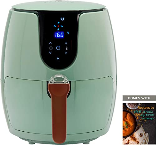 SOLARA Digital Air Fryer for Home Kitchen with 6 Pre set modes for Indian cooking Deep Fryer without oil Non Stick Fry Basket Auto Shut off Feature 100 recipe eBook 2 year warranty