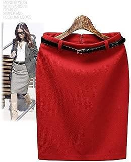 S-3XL Plus Size Winter Autumn Wool Pencil Skirt Women's Formal OL Wear to Work Medium-Length High Waist Skirt with Belt,as The Photo,XL