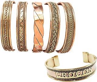 Exclusive Tibetan Copper Bracelets Adjustable Magnetic Indian Pattern Spiritual Yoga Jewelry Handmade for Unisex (Set of 5)