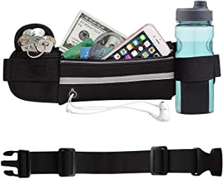 Aolerx Running Belt, Sweatproof and Waterproof, Sports Fanny Pack with Water Bottle Holder, Machine Washable,Can Hold Cash Keys Cards Phone(Below 6.5