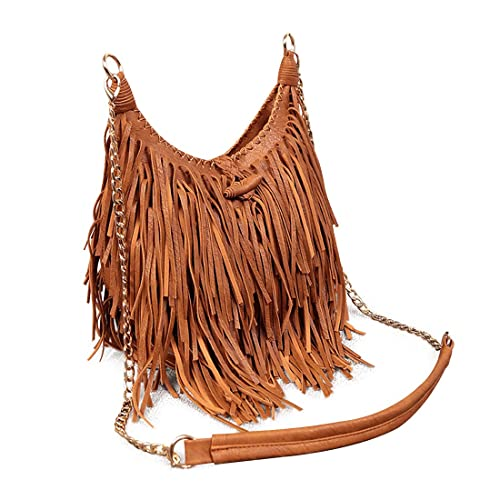 fb0410c4abe LUI SUI Womens Faux Suede Leather Fringe Tassel Cross Body Hobo Shoulder  Bags