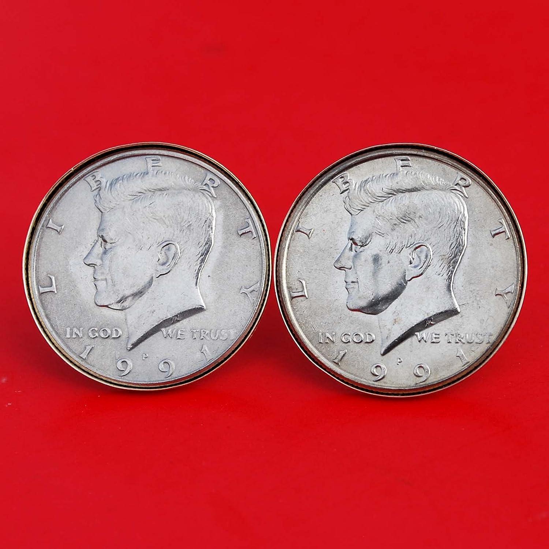 US 1991 gift Kennedy Half Dollar Uncirculated Department store Cufflinks Coin Gold BU