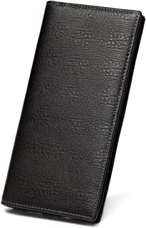 Men's Genuine Leather Multi-Card Long Bifold Wallet