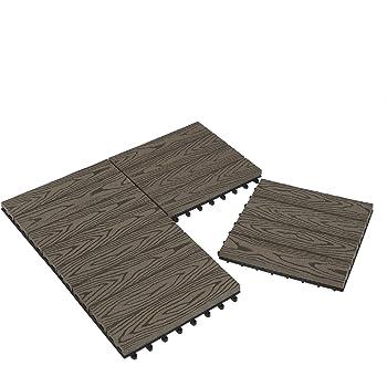 Laneetal Baldosas de Madera 30 x 30 cm Suelo de Exiterior WPC Juego de 11 Suelo Terraza Exterior para Jardín 1m² Suelo Madera Jardin Antracita: Amazon.es: Bricolaje y herramientas