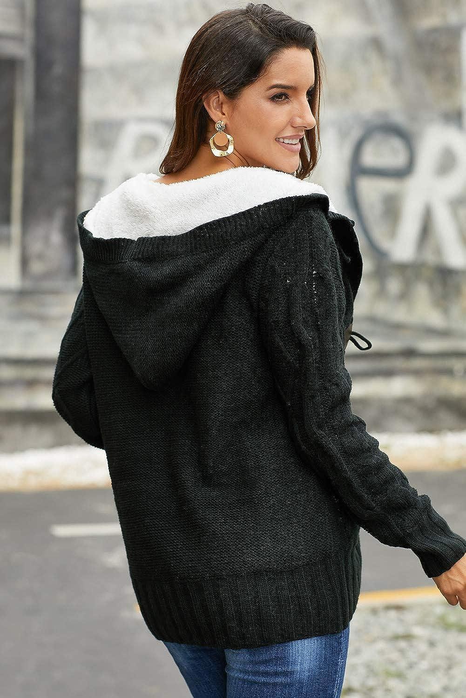 manga larga Aleumdr C/árdigan de punto grueso con capucha para mujer chaqueta de invierno c/álida para oto/ño e invierno color gris y negro dise/ño trenzado con forro gris